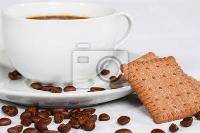 Plakat Filiżanka kawy, fasoli i herbatniki