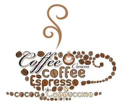 Plakat filiżanka kawy słów
