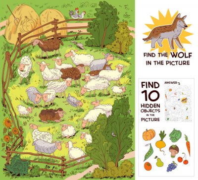 Plakat Find the wolf among the sheep. Find 10 hidden objects