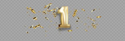 Plakat First Anniversary celebration. Golden number 1 with sparkling confetti, stars, glitters and streamer ribbons.