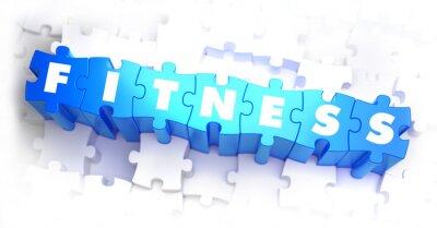 Plakat Fitness - Biały Słowo Blue zagadek.