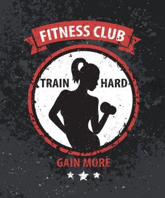 Plakat Fitness Club grunge kolor logo, nadruk z Athletic dziewczyna, ilustracji wektorowych