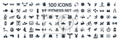Plakat fitness i sport 100 izolowanych ikon ustawionych na białym tle
