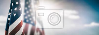 Plakat Flaga amerykańska na Dzień Pamięci, 4 lipca, Święto Pracy