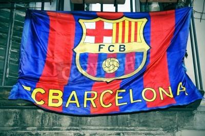 Plakat Flaga FC Barcelona wiszące na balkonie