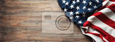 Plakat Flaga Stanów Zjednoczonych na drewniane tła