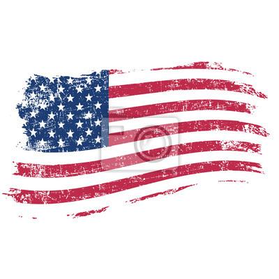 Plakat Flaga USA w stylu grunge na białym tle