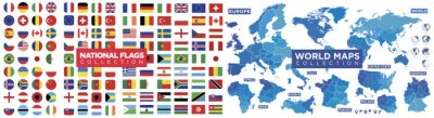 Plakat Flags, maps world collection