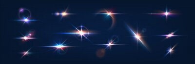 Plakat Flash. Realistic flares. Glowing effects. Photography camera light or sunlight reflection from lens. Stars in space. Isolated glints set. Sparkle glares. Vector shimmering elements