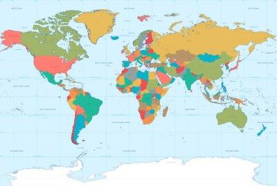 Plakat Flat Colors World Map
