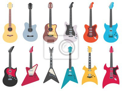 Plakat Flat guitars. Electric rock guitar, acoustic jazz and metal strings music instruments. Musical band guitars instrument retro design. Colorful isolated flat vector illustration icons set