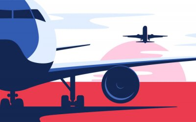 Plakat Flat style vector illustration of the airliner at the airport