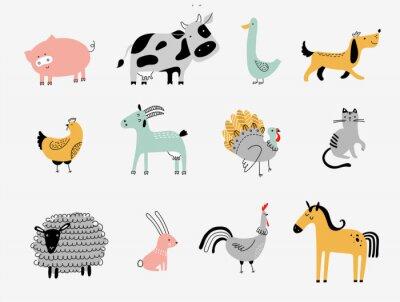 Plakat flat vector illustration of cute farm animals