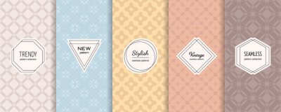 Plakat Floral geometric seamless patterns. Vector set of stylish pastel backgrounds with elegant minimal labels. Abstract modern ornament textures. Trendy nude color palette. Design for print, decor, package