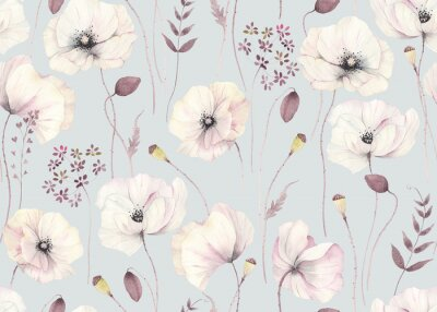 Plakat Floral seamless pattern with delicate poppies and abstract plants on grey-turquoise background. Watercolor illustration in vintage style, tender flowers poppy for wallpapers, textile or garden print.
