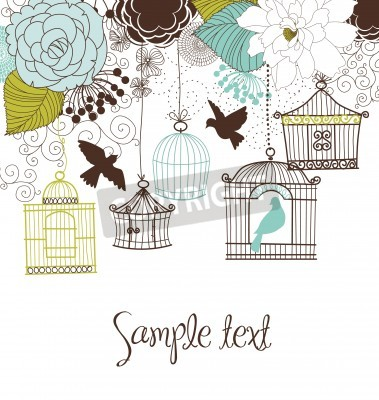 Plakat Floral summer background. Birds out of their cages concept vector