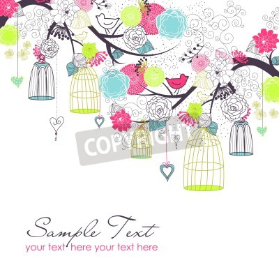 Plakat Floral summer background. Birds out of their cages. Freedom  concept vector
