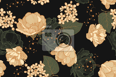 Plakat Floral vintage seamless pattern with roses, tulips and lilac. Hand drawing, vector illustration.