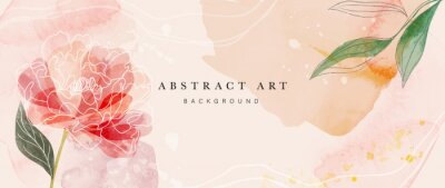 Plakat Flower watercolor art background vector. Wallpaper design with floral paint brush line art. leaves and flowers nature design for cover, wall art, invitation, fabric, poster, canvas print.