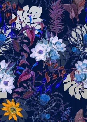 Plakat Flowers pattern.Silk scarf design, fashion textile. Background for the design and decoration of textiles. art abstract design, Seamless flower pattern