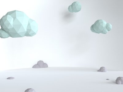 Plakat Fluffy blue clouds on a white background. Sunny day in a minimalistic style. 3d render triangle illustration. Mint color scene with soft shadows.