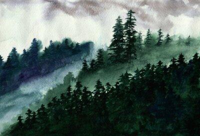 Plakat fog in forest