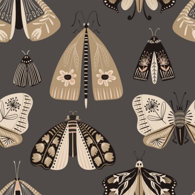 Plakat Folk Art Seamless Pattern With Moths.