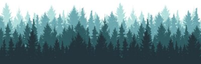 Plakat Forest background, nature, landscape. Pine, spruce, christmas tree. Fog evergreen coniferous trees. Silhouette vector