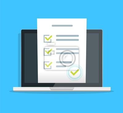 Plakat Formularz ankiety online na ilustracji wektorowych komputer pc, płaski monitor kreskówka pokazujący dokument quizu papieru arkusz dokument, koncepcja głosowania elektronicznego w Internecie, web learn