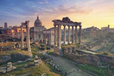 Plakat Forum Romanum. Obraz z Forum Romanum w Rzymie podczas wschodu słońca.