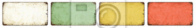 Plakat Four empty vintage tin signs on a white background
