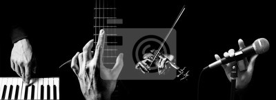 Plakat four parts of musician hands playing musical instrument. music background