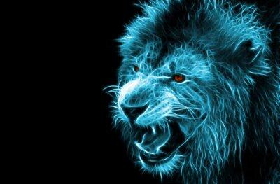Plakat Fractal cyfrowy fantazja sztuki lwa na tle pojedyncze