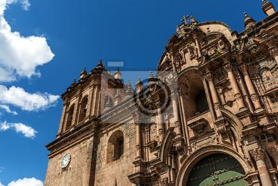 Plakat Fragment fasady katedry w Cusco, Cusco, Peru