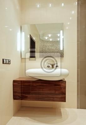 Fragment Wnętrza łazienki Z Umywalki I Lustro Plakaty Redro