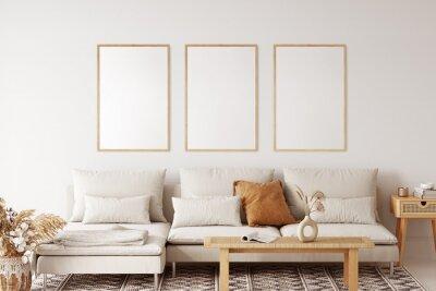 Plakat Frame & poster mockup in Boho style interior. 3d rendering, 3d illustration