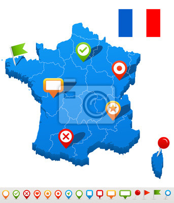 Plakat France map and navigation icons - Illustration.