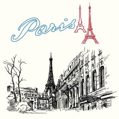 Plakat Francja, Paryż - Wieża Eiffla - ręcznie rysowane zestaw