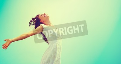 Plakat Free Happy Woman Enjoying Nature. Beauty Girl Outdoor