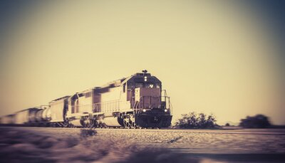 Plakat Freight train traveling through desert Arizona