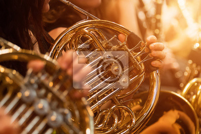 Plakat french horn during a classical concert music, close-up.