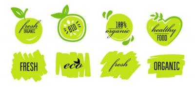 Plakat Fresh eco healthy bio organic vegan food logo labels and tags. Vector eco green concept logos or signs illustration. Vector logo for vegetarian organic food.