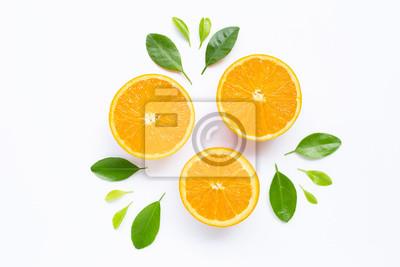 Plakat Fresh orange citrus fruit with leaves isolated on white background.