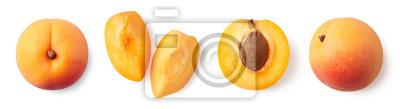 Plakat Fresh ripe whole, half and sliced apricot