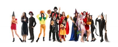 Plakat Friends in Halloween costumes on white background