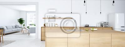 Plakat frontalny widok nowoczesnej kuchni nordyckiej w mieszkaniu na poddaszu. Renderowanie 3D