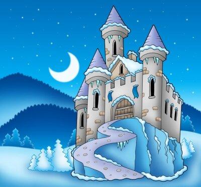 Plakat Frozen zamku w zimowy krajobraz