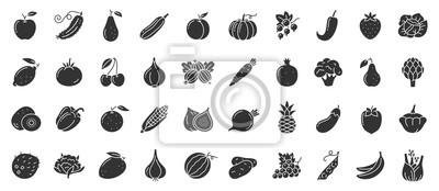 Plakat Fruit berry vegetable food glyph icon vector set