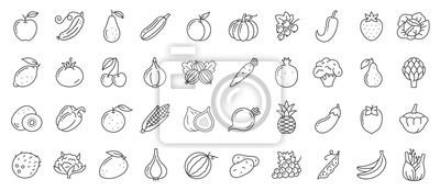 Plakat Fruit berry vegetable food line icon vector set