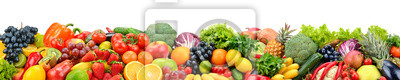 Plakat Fruits and vegetables isolated on white. Wide panoramic photo for title.